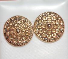 VINTAGE GORGEOUS 14K GOLD FILLED  FLOWER DOT 15  MM STUD EARRINGS & 10K BACKS