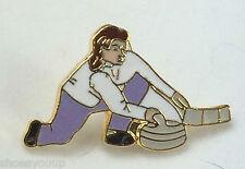 Ice Curling Female Curler Quality enamel lapel pin badge