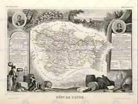 MAP OLD FRANCE LEVASSEUR AUDE DEPARTMENT POSTER ART PRINT BB12009B