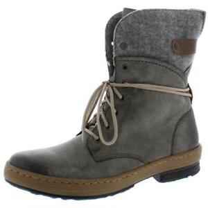 Rieker Womens Felecitas 14 Faux Leather Block Heel Combat Boots Shoes BHFO 3077