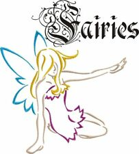 Fairies Outline Machine Embroidery Designs set leaf flower PES HUS JEF VIP DST