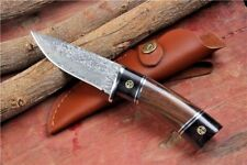 Custom Handmade Damascus Steel Tactical Fixed Blade Hunting Knife Wood Handle