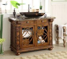 """42"""" Benton Collection Vigo Vessel Sink Brown Elegant Bathroom Vanity Hf1217Gf"""