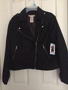 Philosophy Black Faux Suede Moto Jacket SZ L $98 NWT