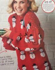 "Ladies Christmas Snowman Jumper DK KNITTING PATTERN -Sizes 6-16 (30-40"" Bust)"