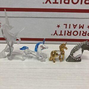 unicorns 2 glass,1 pewter & crystal, 1 crystal & metal figurines