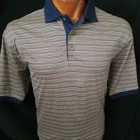 Jos A Bank Blue Stripe Leadbetter Golf S/S Pink Gray Blue Striped Polo Shirt L