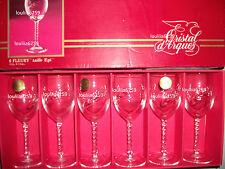Cristal D'arques - 6  Verres a porto ou a vin blanc modèle fleury taille épi