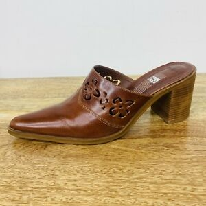 Y2K 2000s Zu Mules Slides Brown Leather Made in Brazil Western Style Size 8