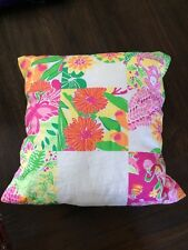 Decorative Lilly Pulitzer Fabric Throw Pillow Pink Green Monkey Floral