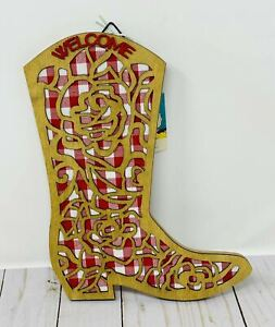 Pioneer Woman Boot Cutout Wall Decor Decoration Spring 2021 Red Gingham Rose New