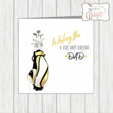 Golfing Birthday Card For Golfer Gold Black Golf Clubs Bag Can Be Personalised