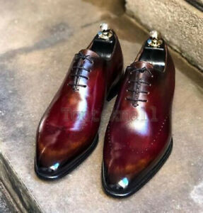 Handmade Men's Leather Oxfords Wingtip Burgundy Lace Up Dress Formal Shoes-363