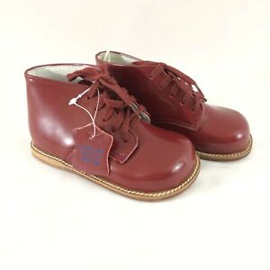 Danucci Walking Shoes Toddler Boys Combat Boots Lace Up Leather Burgundy 6EE