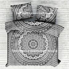 King Duvet Cover Set Hippie Bohemian Mandala Quilt Indian Comforter Black White