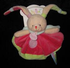 Doudou rond Lapin beige rose vert Gourmandise sucette Babynat' Baby Nat' BN0126