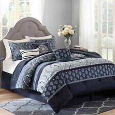Full Queen Size Navy Blue Grey Paisley 7-Piece Bedding Comforter Set