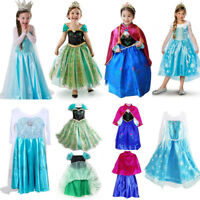 Princess Elsa Anna Frozen Dressup Costume Dress Ball Gown Girls Toddler 2-10 Y