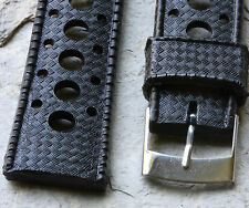 Black soft thick rubber 20mm dive watch divers strap round holes NOS 1960s/70s