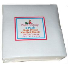 Pack of Two Fitted Jersey Toddler Cot Bed Sheets White 100% Cotton 140cm x 70cm