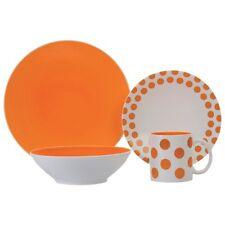 Brilliant - Halo Autumn Glory  16pc Dinnerware Set Service for 4, White/Orange