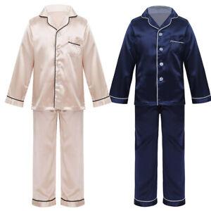 Kids Boys Girls Long Sleeve Satin Pajamas Set Button Down Two Piece Sleepwear