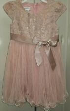 BONNIE JEAN NWT GIRL'S size 4 Toddler GORGEOUS Dusty Pink Tapestry Zip Dress 4T