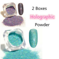 2Boxes Holographic Nail Glitter Powder Dust Holo Laser  Tips Blue Purple