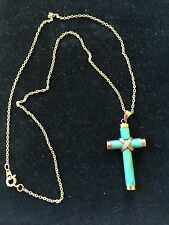 CLASSIC Gold plate Green JADE CROSS PENDANT W/ gold plate CHAIN NECKLACE