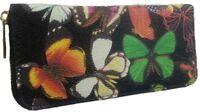Ladies Black Butterfly Oilcloth Designer Zip-Around Purse Bag Wallet Handbag