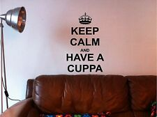KEEP CALM & HAVE A CUPPA wall art sticker vinyl KITCHEN QUOTE