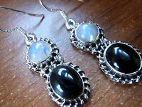Blue Moonstone Black Onyx Rope Style 925 Sterling Silver Dangle Earrings New
