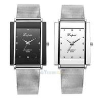 Lvpai Luxury Women Watch Men Stainless Steel Silver Mesh Band Quartz Wrist Watch