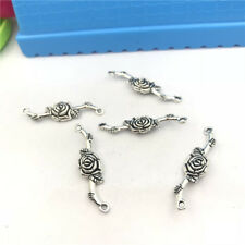 6pcs Jewellery Making Rose Flower Connector Charm Pendant Tibetan Silver 34x8mm