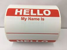 250 Labels RED Hello My Name Is Badge Tag Identification Stickers