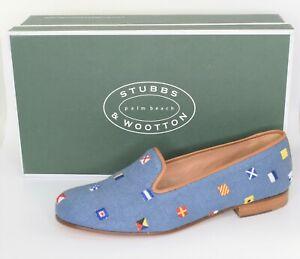 NWB $500  * Stubbs & Wootton * Maritime Marine Blue Linen Slippers 7.5 M