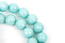 12mm Round Faceted BABY BLUE JADE Gemstone Beads, full strand, 32 beads, gjd0162