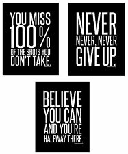 3 Motivational Inspirational Famous Quote Wall Art Posters (8 x 10 inches)