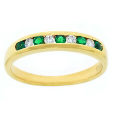 FINE 18K YELLOW GOLD WOMENS EMERALD AND DIAMOND ANNIVERSARY BAND RING SIZE: 6