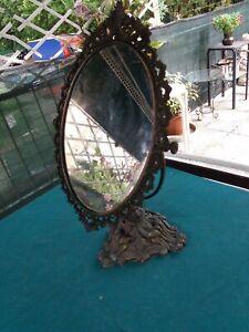 Specchio da tavolo in ottone stile barocco