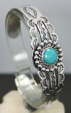 Navajo Style Sterling Silver Stamp Work Cuff Bracelet with Round Turquoise