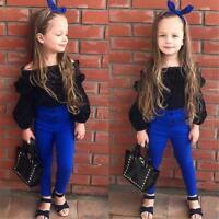 Kids Toddler Baby Girls Off Shoulder Tops Pants 2Pcs Set Suit Outfits Clothes