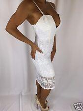 Connie's Spaghetti Strap Deep Plunge Neckline Stretch Lace White Midi Dress L/XL