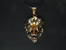Lederkette, Löwenkopf, 24 Karat (999er) komplett veredelt, Löwe, Gold, neu