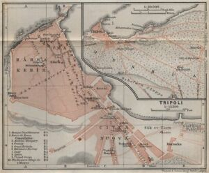 TRIPOLI town city plan & environs. Dahra Citta Nuova Harra Kebir Libya 1911 map