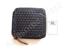 New Ralph Lauren RRL Textured Vintage Black Leather Zip Around Bifold Wallet
