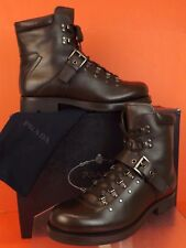 NIB PRADA BROWN LEATHER BELTED BUCKLE LACE UP SHEARLING COMBAT BOOTS 10 US 11