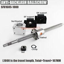 Rolled Ballscrew 1000MM SFU1605 Ball Screw w/ Ballnut &End Support&Bracket Kit