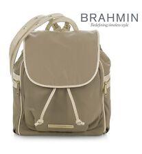 Brahmin Women's Serena Bayview Nylon Microfiber Backpack in Taupe + Vanilla Croc