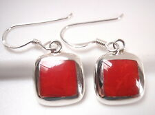 Red Coral 925 Sterling Silver Square Earrings with Rounded Corners